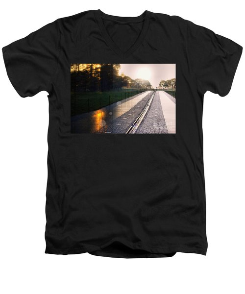 Men's V-Neck T-Shirt featuring the photograph The Vietnam Wall Memorial  by John S