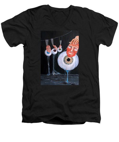 The Vision Behind The Structure Behind The Eyes Men's V-Neck T-Shirt by Lazaro Hurtado