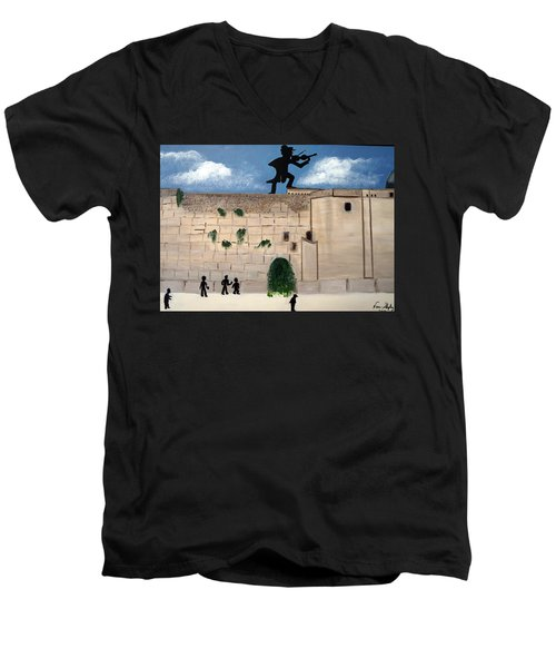 Men's V-Neck T-Shirt featuring the painting The  Western Wall And Fiddler On The Roof by Nora Shepley