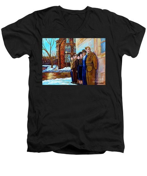 The War Years 1942 Montreal St Mathieu And De Maisonneuve Street Scene Canadian Art Carole Spandau Men's V-Neck T-Shirt