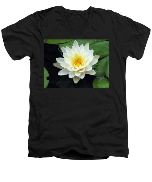 Men's V-Neck T-Shirt featuring the photograph The Water Lilies Collection - 02 by Pamela Critchlow