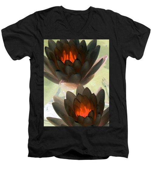 Men's V-Neck T-Shirt featuring the photograph The Water Lilies Collection - Photopower 1042 by Pamela Critchlow