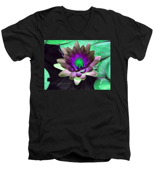 Men's V-Neck T-Shirt featuring the photograph The Water Lilies Collection - Photopower 1114 by Pamela Critchlow