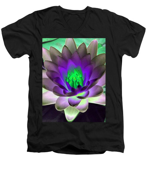 Men's V-Neck T-Shirt featuring the photograph The Water Lilies Collection - Photopower 1115 by Pamela Critchlow