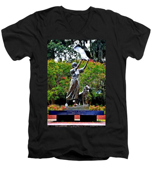 The Waving Girl Of Savannah Men's V-Neck T-Shirt by Tara Potts