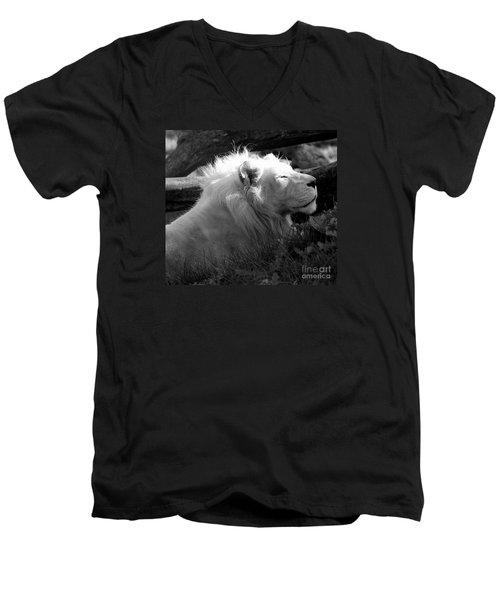 The White King Men's V-Neck T-Shirt by Marcia Lee Jones