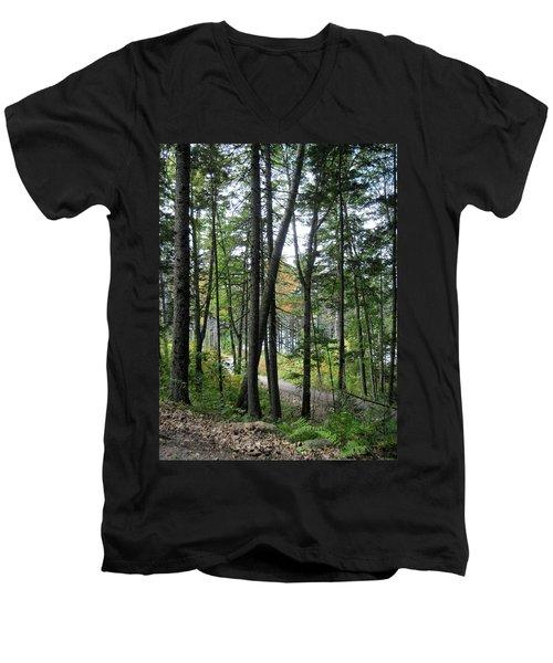 The Woods Coastal Maine Botanical Gardens Men's V-Neck T-Shirt by Patricia E Sundik