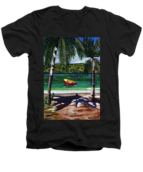 Men's V-Neck T-Shirt featuring the painting The Yellow And Red Boat by Laura Forde