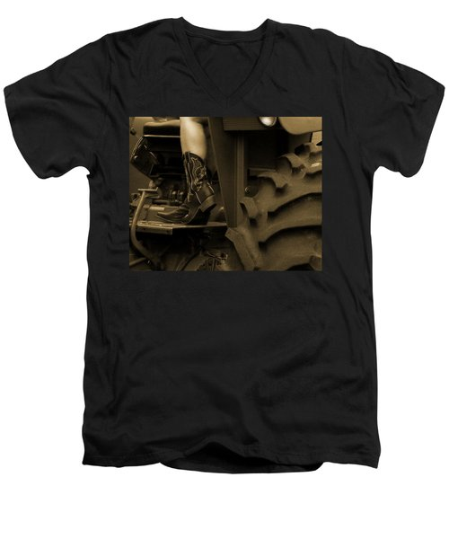 These Boots 1 Sepia Men's V-Neck T-Shirt