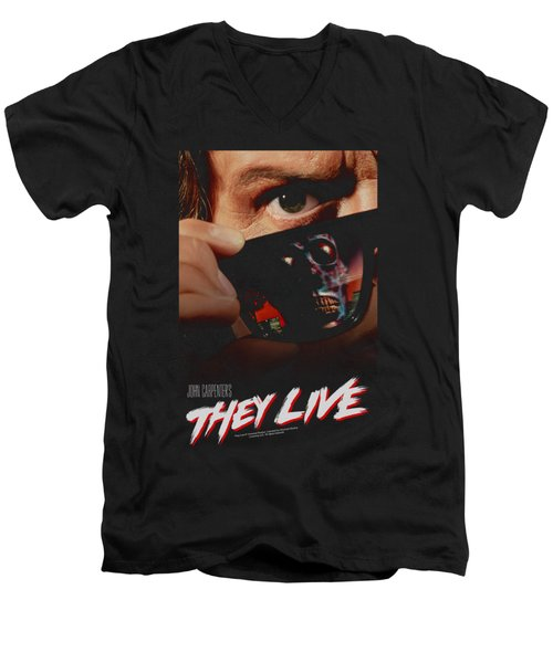 They Live - Poster Men's V-Neck T-Shirt