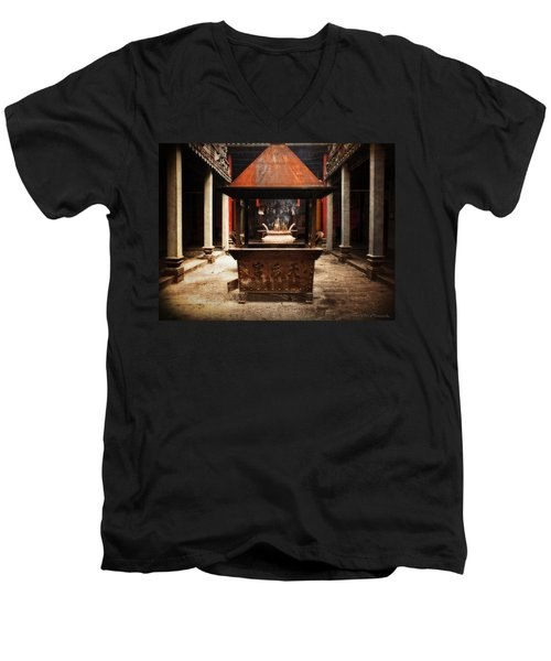 Men's V-Neck T-Shirt featuring the photograph Thien Hau Temple  by Lucinda Walter