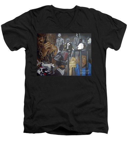 Think Black Man Men's V-Neck T-Shirt by Chelle Brantley