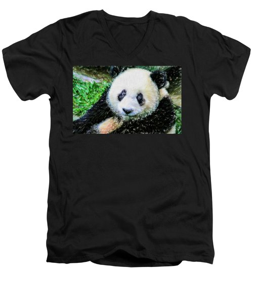 Thinking Of David Panda Men's V-Neck T-Shirt by Lanjee Chee