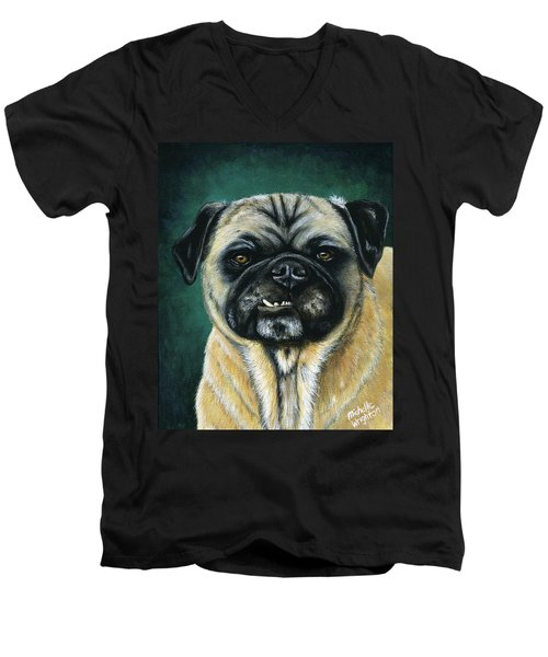 This Is My Happy Face - Pug Dog Painting Men's V-Neck T-Shirt
