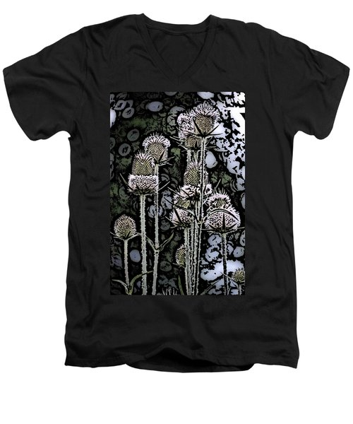 Men's V-Neck T-Shirt featuring the digital art Thistle  by David Lane