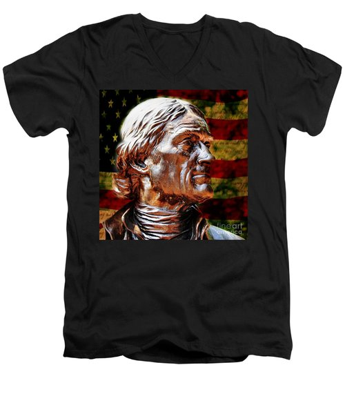 Thomas Jefferson Statue  Men's V-Neck T-Shirt by Judy Palkimas