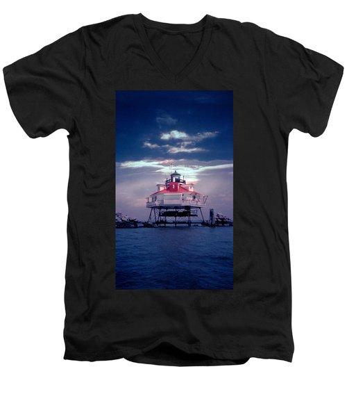 Thomas Pt.  Shoal Lighthouse Men's V-Neck T-Shirt