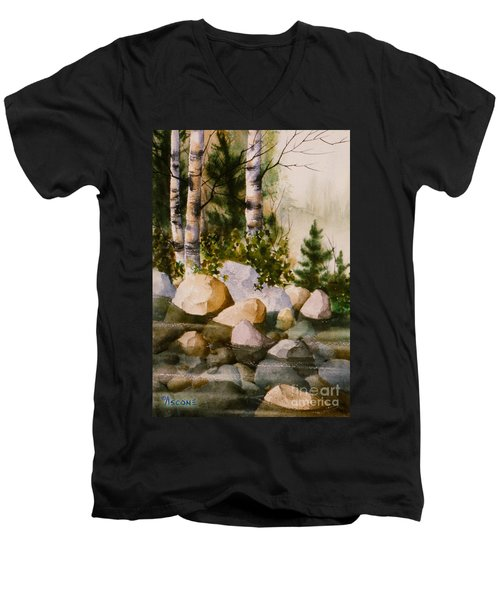 Three Birch By Rocky Stream Men's V-Neck T-Shirt