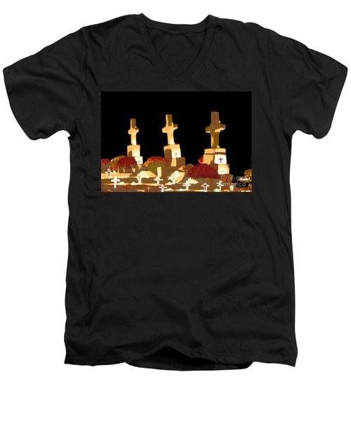 Men's V-Neck T-Shirt featuring the photograph Louisiana Artistic Cemetery by Luana K Perez