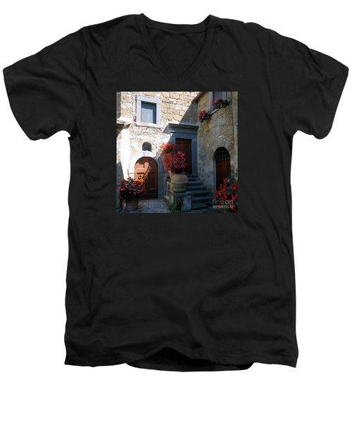 Three Doors In Bagnoregio Men's V-Neck T-Shirt by Barbie Corbett-Newmin