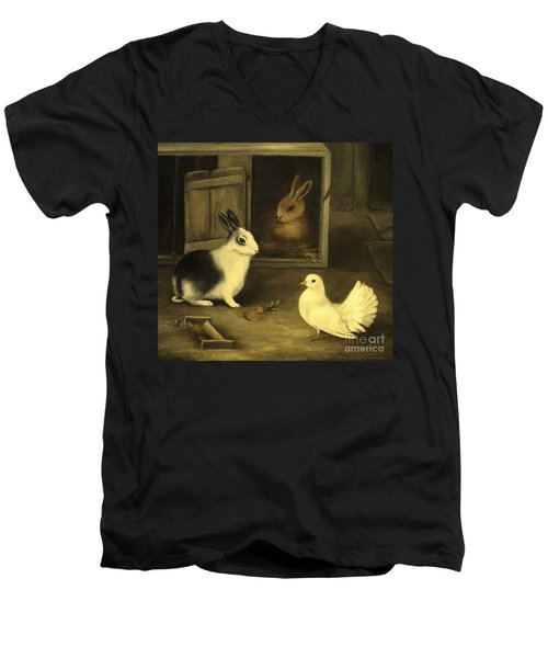 Three Friends Sharing A Moment Men's V-Neck T-Shirt by Hazel Holland