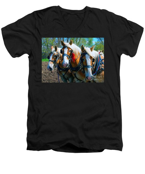 Three Horses Break Time  Men's V-Neck T-Shirt