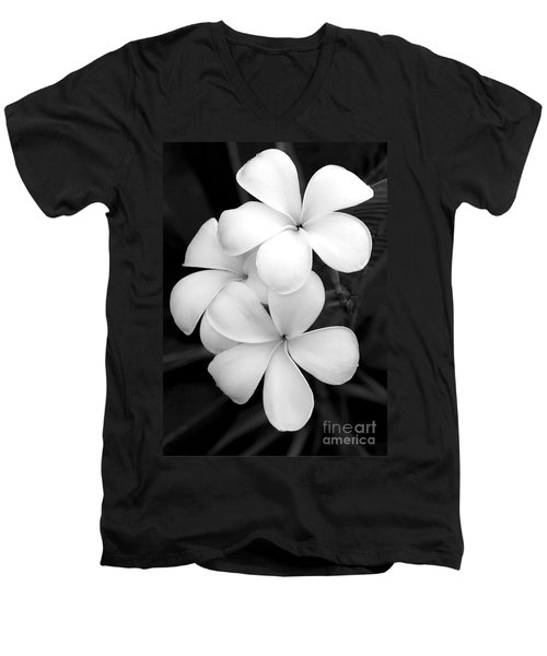 Three Plumeria Flowers In Black And White Men's V-Neck T-Shirt