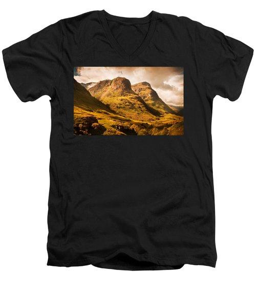 Three Sisters. Glencoe. Scotland Men's V-Neck T-Shirt by Jenny Rainbow