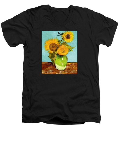 Three Sunflowers In A Vase Men's V-Neck T-Shirt by Vincent Van Gogh