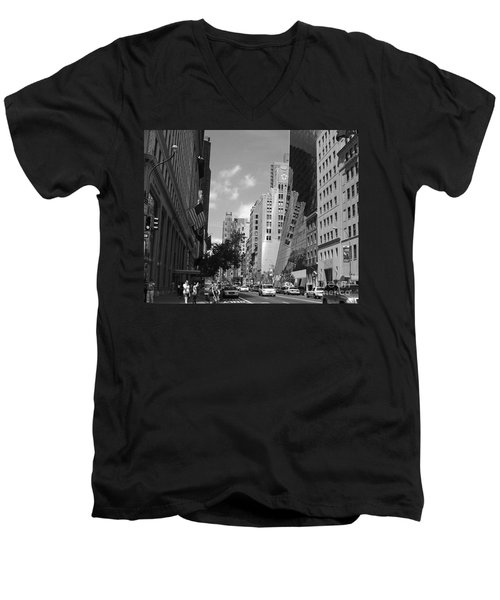 Men's V-Neck T-Shirt featuring the photograph Through The Looking Glass In Black And White by Meghan at FireBonnet Art