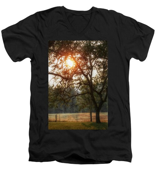 Men's V-Neck T-Shirt featuring the photograph Through The Trees by Melanie Lankford Photography