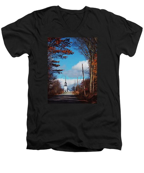 Through The Trees View Of The Norlands Church Steeple Men's V-Neck T-Shirt by Joy Nichols