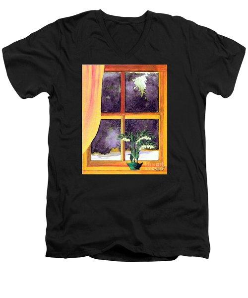 Men's V-Neck T-Shirt featuring the painting Through The Window by Patricia Griffin Brett