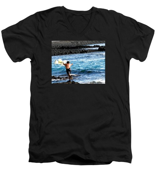 Men's V-Neck T-Shirt featuring the photograph Throw.... by Lehua Pekelo-Stearns