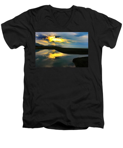 Men's V-Neck T-Shirt featuring the photograph Tidal Pond Sunset New Zealand by Amanda Stadther