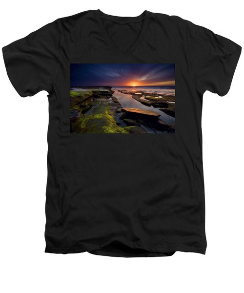 Tidepool Sunsets Men's V-Neck T-Shirt by Peter Tellone