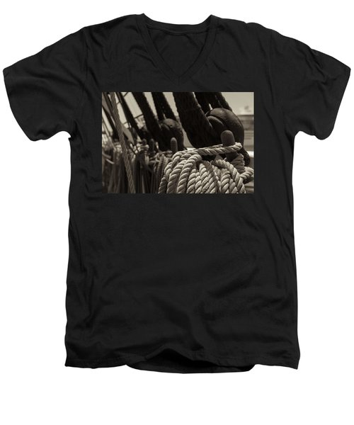 Tied Up Black And White Sepia Men's V-Neck T-Shirt