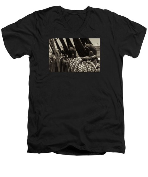 Tied Up Black And White Sepia Men's V-Neck T-Shirt
