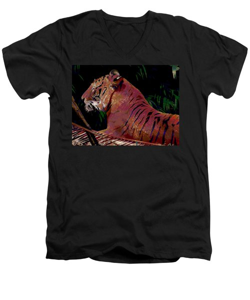 Men's V-Neck T-Shirt featuring the painting Tiger 2 by David Mckinney