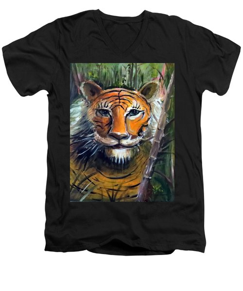 Tiger Men's V-Neck T-Shirt by Bernadette Krupa