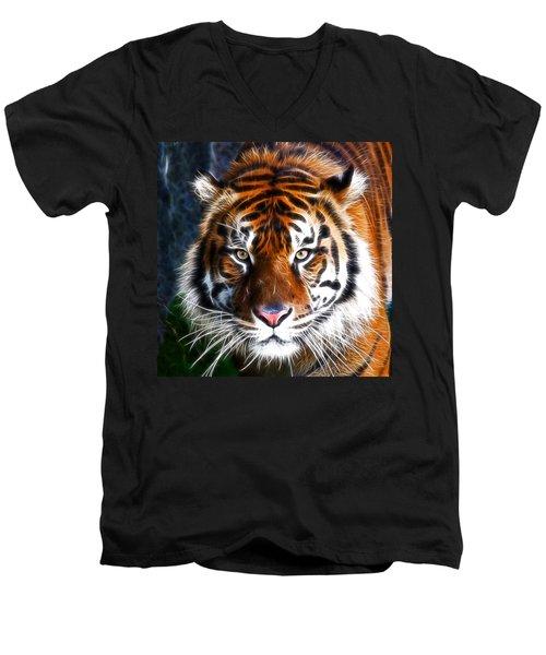 Tiger Close Up Men's V-Neck T-Shirt by Steve McKinzie