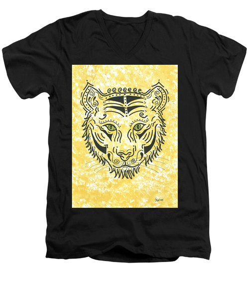 Tiger Eye Men's V-Neck T-Shirt by Susie WEBER