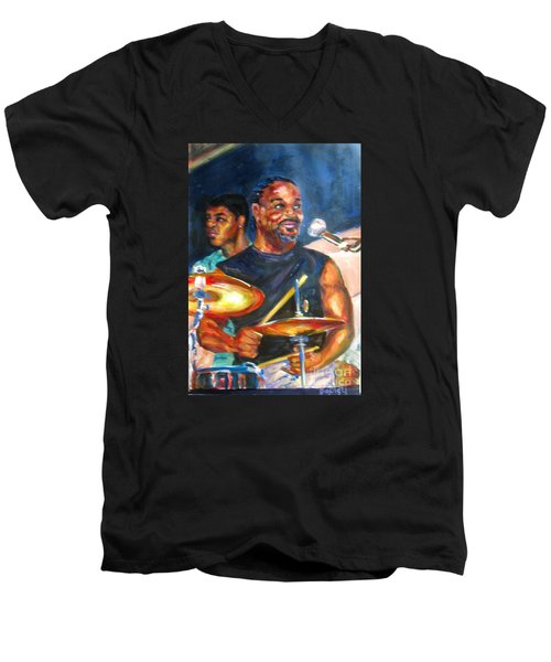 Tiger On Drums Men's V-Neck T-Shirt