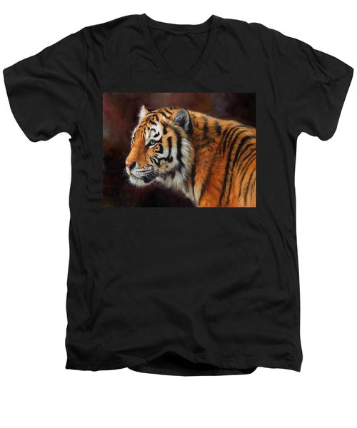 Tiger Portrait  Men's V-Neck T-Shirt by David Stribbling
