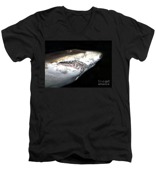 Men's V-Neck T-Shirt featuring the photograph Tiger Shark by Sergey Lukashin