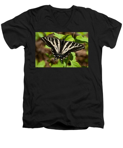 Tiger Swallowtail Butterfly Men's V-Neck T-Shirt by Jeff Goulden