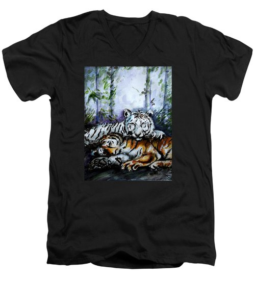 Men's V-Neck T-Shirt featuring the painting Tigers-mother And Child by Harsh Malik