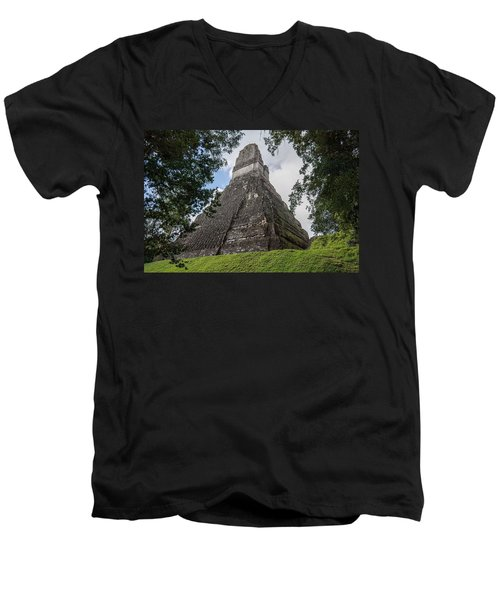 Tikal Pyramid 1b Men's V-Neck T-Shirt