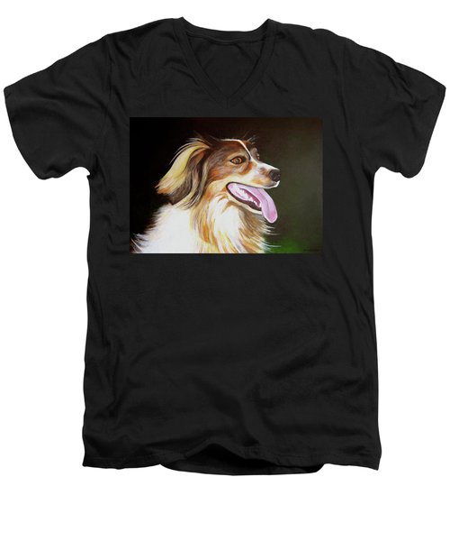Men's V-Neck T-Shirt featuring the painting Tillie by Janice Dunbar