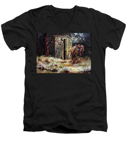 Time Out Men's V-Neck T-Shirt by Lee Piper